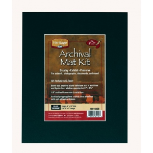 "Heritage Arts™ Archival Series 8"" x 10"" Pre-Cut Single Layer Black Mat Kit: Black/Gray, Frame, Pre-Cut Mat Board, 8"" x 10"", 1/16"", Presentation Board, (model H0810ASB), price per each"