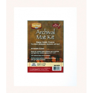 """Heritage Arts™ Archival Series 8"""" x 10"""" Pre-Cut Single Layer White Mat Kit; Color: White/Ivory; Format: Frame; Material: Pre-Cut Mat Board; Size: 8"""" x 10""""; Thickness: 1/16""""; Type: Presentation Board; (model H0810ASW), price per each"""
