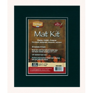 "Heritage Arts™ Standard Series 8"" x 10"" Pre-Cut Double Layer Black Mat Kit; Color: Black/Gray; Format: Frame; Material: Pre-Cut Mat Board; Size: 8"" x 10""; Thickness: 1/8""; Type: Presentation Board; (model H0810SDB), price per each"