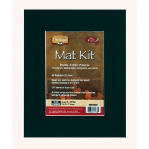 "Heritage Arts™ Standard Series 8"" x 10"" Pre-Cut Single Layer Black Mat Kit; Color: Black/Gray; Format: Frame; Material: Pre-Cut Mat Board; Size: 8"" x 10""; Thickness: 1/16""; Type: Presentation Board; (model H0810SSB), price per each"
