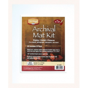 "Heritage Arts™ Archival Series 11"" x 14"" Pre-Cut Double Layer White Mat Kit: White/Ivory, Frame, Pre-Cut Mat Board, 11"" x 14"", 1/8"", Presentation Board, (model H1114ADW), price per each"