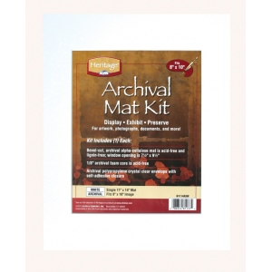 "Heritage Arts™ Archival Series 11"" x 14"" Pre-Cut Single Layer White Mat Kit; Color: White/Ivory; Format: Frame; Material: Pre-Cut Mat Board; Size: 11"" x 14""; Thickness: 1/16""; Type: Presentation Board; (model H1114ASW), price per each"