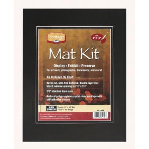 "Heritage Arts™ Standard Series 11"" x 14"" Pre-Cut Double Layer Black Mat Kit; Color: Black/Gray; Format: Frame; Material: Pre-Cut Mat Board; Size: 11"" x 14""; Thickness: 1/8""; Type: Presentation Board; (model H1114SDB), price per each"