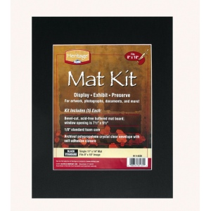 "Heritage Arts™ Standard Series 11"" x 14"" Pre-Cut Single Layer Black Mat Kit: Black/Gray, Frame, Pre-Cut Mat Board, 11"" x 14"", 1/16"", Presentation Board, (model H1114SSB), price per each"