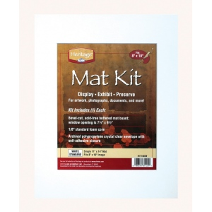 "Heritage Arts™ Standard Series 11"" x 14"" Pre-Cut Single Layer White Mat Kit: White/Ivory, Frame, Pre-Cut Mat Board, 11"" x 14"", 1/16"", Presentation Board, (model H1114SSW), price per each"