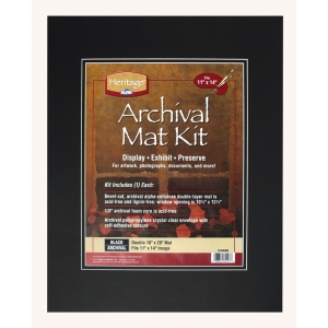 "Heritage Arts™ Archival Series 16"" x 20"" Pre-Cut Double Layer Black Mat Kit; Color: Black/Gray; Format: Frame; Material: Pre-Cut Mat Board; Size: 16"" x 20""; Thickness: 1/8""; Type: Presentation Board; (model H1620ADB), price per each"