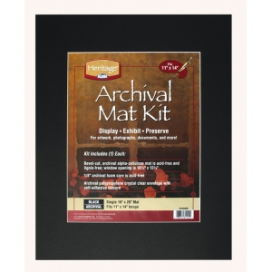 "Heritage Arts™ Archival Series 16"" x 20"" Pre-Cut Single Layer Black Mat Kit; Color: Black/Gray; Format: Frame; Material: Pre-Cut Mat Board; Size: 16"" x 20""; Thickness: 1/16""; Type: Presentation Board; (model H1620ASB), price per each"