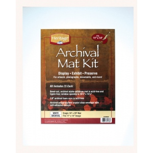 """Heritage Arts™ Archival Series 16"""" x 20"""" Pre-Cut Single Layer White Mat Kit; Color: White/Ivory; Format: Frame; Material: Pre-Cut Mat Board; Size: 16"""" x 20""""; Thickness: 1/16""""; Type: Presentation Board; (model H1620ASW), price per each"""