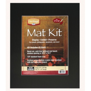 "Heritage Arts™ Standard Series 16"" x 20"" Pre-Cut Single Layer Black Mat Kit; Color: Black/Gray; Format: Frame; Material: Pre-Cut Mat Board; Size: 16"" x 20""; Thickness: 1/16""; Type: Presentation Board; (model H1620SSB), price per each"