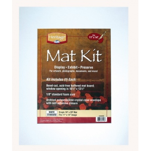 "Heritage Pre-Cut Mat Kits: Standard Series, Single Mat, White, 16"" x 20"""