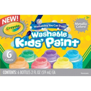 Crayola® Washable Paint 6-Color Metallic Set; Color: Metallic; Format: Bottle; Size: 2 oz; Type: Washable; (model 54-5000), price per set