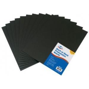 "Alvin® Black on Black Presentation Boards 8"" x 10"" (Retail Pack); Color: Black/Gray; Format: Sheet; Quantity: 10 Sheets; Size: 8"" x 10""; Type: Presentation Board; (model PB810-10), price per 10 Sheets"