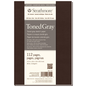 "Strathmore® 400 Series Soft Cover Toned Gray Sketch Journal 5.5"" x 8"": Sewn Bound, Black/Gray, Journal, 112 Pages, 5 1/2"" x 8"", Medium, Sketching, 80 lb, (model ST481-105), price per each"
