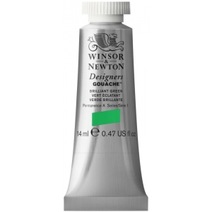 Winsor & Newton™ Designers' Gouache Color 14ml Brilliant Green: Green, Tube, 14 ml, Gouache, (model 0605046), price per tube