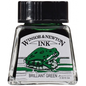 Winsor & Newton™ Drawing Ink 14ml Brilliant Green: Green, Bottle, 14 ml, Drawing Ink, (model 1005046), price per each