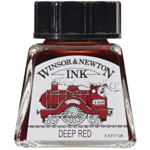 Winsor & Newton™ Drawing Ink 14ml Deep Red: Red/Pink, Bottle, 14 ml, Drawing Ink, (model 1005227), price per each