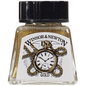 Winsor & Newton™ Drawing Ink 14ml Gold: Metallic, Bottle, 14 ml, Drawing Ink, (model 1005283), price per each