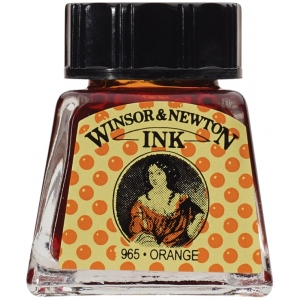 Winsor & Newton™ Drawing Ink 14ml Orange; Color: Orange; Format: Bottle; Size: 14 ml; Type: Drawing Ink; (model 1005449), price per each