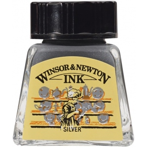 Winsor & Newton™ Drawing Ink 14ml Silver: Metallic, Bottle, 14 ml, Drawing Ink, (model 1005617), price per each