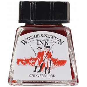 Winsor & Newton™ Drawing Ink 14ml Vermillion: Green, Bottle, 14 ml, Drawing Ink, (model 1005680), price per each