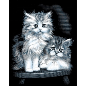 "Reeves™ Scraperfoil™ Scraperfoil Fluffy Kittens; Color: Metallic; Size: 8"" x 10""; (model PPSF39), price per each"