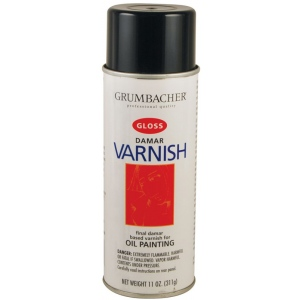 Grumbacher® Damar Gloss Varnish Spray for Oils 11oz; Finish: Gloss; Format: Spray Can; Size: 11 oz; Type: Varnish; (model GB545), price per each