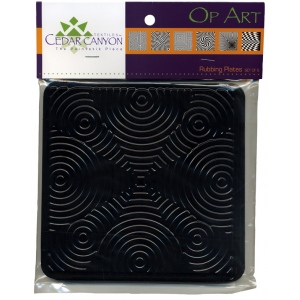 """Cedar Canyon Textiles Op Art Rubbing Plate Set: Black/Gray, 7"""" x 7"""", Rubbing Plate, (model CCT4001), price per set"""