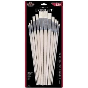 Royal & Langnickel® White Bristle Flat Brush Set; Length: Multi; Material: White Bristle; Shape: Flat, Multi; Type: Multi; (model RSET-9601), price per set