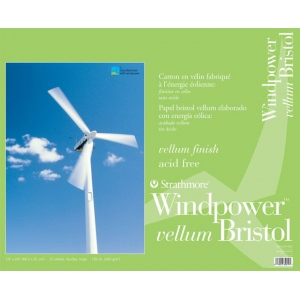"""Strathmore® Windpower™ 19 x 24 Vellum Tape Bound Bristol Pad; Binding: Tape Bound; Color: White/Ivory; Format: Pad; Quantity: 15 Sheets; Size: 19"""" x 24""""; Weight: 100 lb; (model ST642-119), price per 15 Sheets pad"""