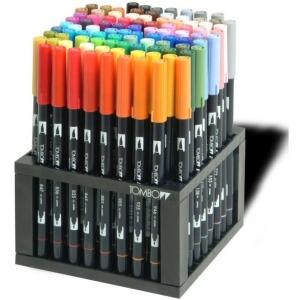Tombow® Dual Brush® Dual Brush® 96-Color Pen Set: Multi, Double-Ended, Water-Based, Brush Nib, Fine Nib, (model 56149), price per set