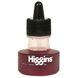 Higgins® Waterproof Color Drawing Ink Red; Color: Red/Pink; Format: Bottle; Ink Type: Dye-Based; Size: 1 oz; Waterproof: Yes; (model SN44104), price per each