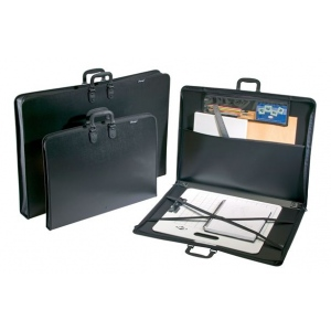"Prestige™ Studio™ Series Art Portfolio 1-1/2"" Gusset 14"" x 18""; Color: Black/Gray; Gusset Size: 1 1/2""; Material: Polypropylene; Size: 14"" x 18""; (model PP1418), price per each"