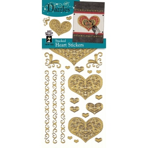 "Dazzles™ Stickers Gold Stacked Heart; Color: Metallic; Size: 4"" x 9""; Type: Outline; (model HOTP1832), price per each"