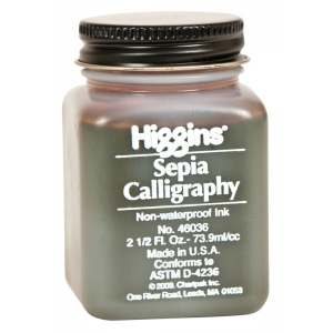 Higgins® Non-Waterproof Sepia Calligraphy Ink; Color: Brown; Format: Jar; Ink Type: Dye-Based, Fountain; Size: 2.5 oz; (model SN46036), price per each