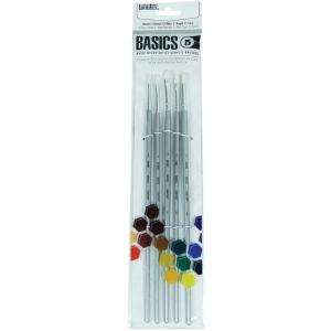Liquitex® Basics 5-Piece Brush Pack Long Handle: Long Handle, Bright, Filbert, Flat, Round, Acrylic, (model 692002), price per set