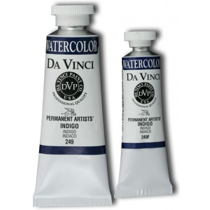 Da Vinci Artists' Watercolor Paint 37ml Indigo; Color: Black/Gray, Blue; Format: Tube; Size: 37 ml; Type: Watercolor; (model DAV249), price per tube