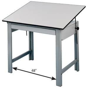 "Alvin® DesignMaster Office Height Drawing Table: 0 - 45, Black/Gray, Steel, 28"", White/Ivory, Melamine, 36"" x 48"", (model DM48LT), price per each"