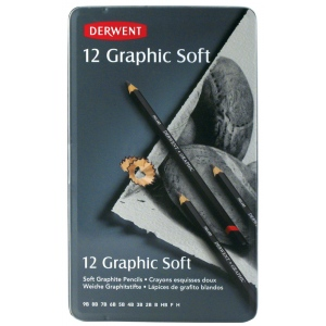 Derwent Graphic 12-Pencil Tin Set Soft; Color: Black/Gray; Type: Drawing; (model 34215), price per set