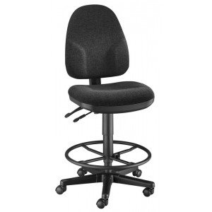 "Alvin® Black High Back Drafting Height Monarch Chair; Arm Rest Included: No; Color: Black/Gray; Foot Ring Included: Yes; Height Range: 24"" - 29"", 30"" & Up; Seat Material: Fabric; (model CH555-40DH), price per each"