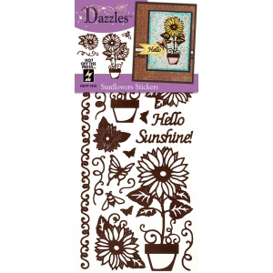 "Dazzles™ Sunflower Stickers 4"" x 9""; Color: Brown; Size: 4"" x 9""; Type: Flat; (model HOTP1910), price per each"