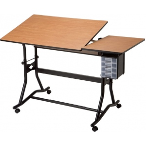 "Alvin® CraftMaster™ III Split-Top Drafting Drawing and Art Table Black Base Cherry Woodgrain Top; Angle Adjustment Range: 0 - 30; Base Color: Black/Gray; Base Material: Steel; Height Range: 35"" - 39 1/2""; Top Color: Brown; Top Material: Wood; Top Size: 30"" x 60""; (model CM60-3-WBR), price per each"