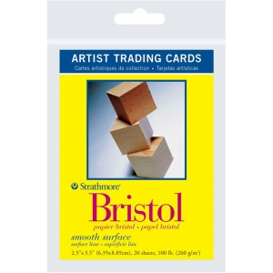 "Strathmore® 300 Series 2.5"" x 3.5"" Smooth Surface Bristol Artist Trading Cards: White/Ivory, Artist Trading Card, 20 Cards, 2 1/2"" x 3 1/2"", Smooth, Bristol, 100 lb, (model ST105-901), price per 20 Cards"