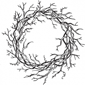 Sarasota Stamps Mounted Rubber Stamp Vine Wreath ; Material: Rubber; Mounted: Yes; (model SSH-3302), price per each