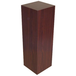 "Xylem Mahogany Stained Wood Veneer Pedestal: 23"" x 23"" Base, 18"" Height"