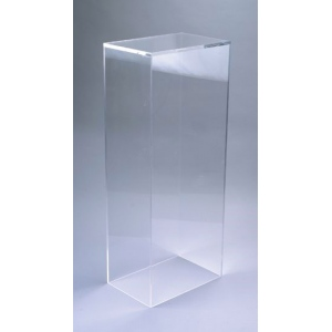 "Xylem Clear Acrylic Pedestal: Table Top, 9"" x 9"" Base, 17"" Height"
