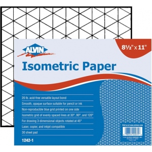"Alvin® Isometric Paper 500-Sheet Pack 8.5"" x 11""; Format: Sheet; Grid Size/Pattern: Isometric; Quantity: 500 Sheets; Size: 8 1/2"" x 11""; Weight: 20 lb; (model 1242-3), price per 500 Sheets"
