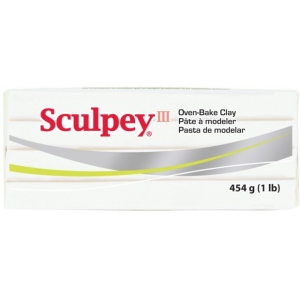 Sculpey® III Oven-Bake Clay White: White/Ivory, 1 lb, Oven Bake, (model S31001), price per each