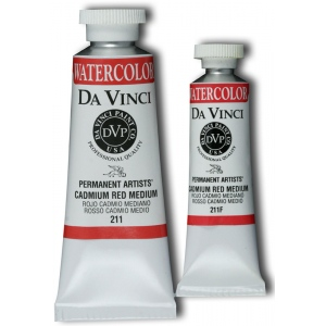 Da Vinci Artists' Watercolor Paint 37ml Cadmium Red Medium; Color: Red/Pink; Format: Tube; Size: 37 ml; Type: Watercolor; (model DAV211), price per tube