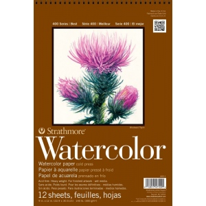 """Strathmore® 400 Series 12"""" x 18"""" Cold Press Wire Bound Watercolor Pad; Binding: Wire Bound; Color: White/Ivory; Format: Pad; Quantity: 12 Sheets; Size: 12"""" x 18""""; Texture: Cold Press; Weight: 140 lb; (model ST440-3), price per 12 Sheets pad"""
