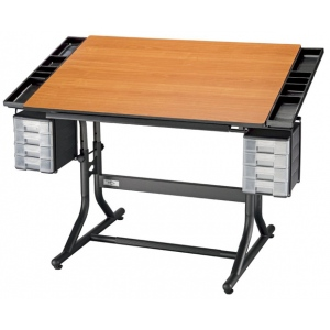 "Alvin® CraftMaster™ II Deluxe Art Drawing and Hobby Table Black Base with Cherry Woodgrain Top; Angle Adjustment Range: 0 - 30; Base Color: Black/Gray; Base Material: Steel; Height Range: 28"" - 32""; Top Color: Brown; Top Material: Wood; Top Size: 28"" x 40""; (model CM48-3-WBR), price per each"
